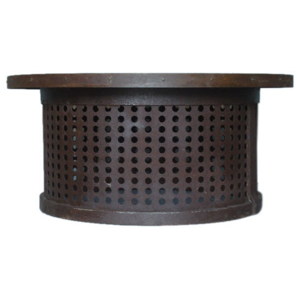 Round Metal Antique Apple Perforated Basket Coffee Table