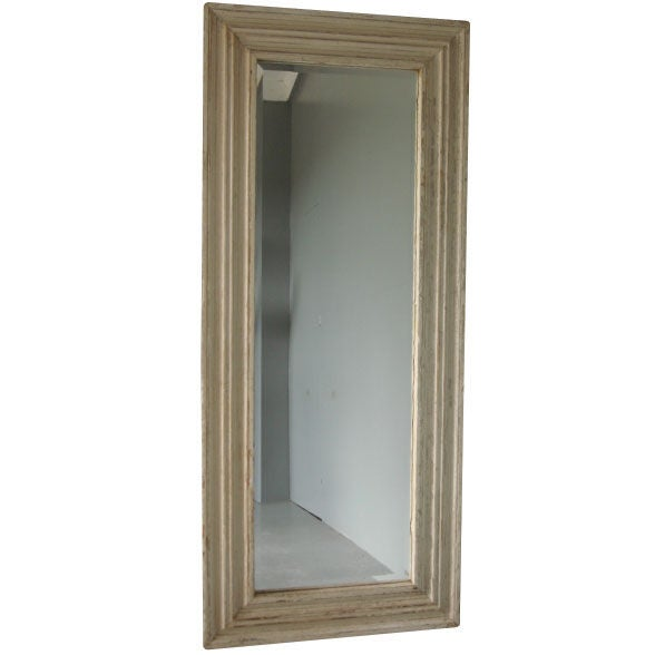 Vintage White Painted Salvaged Moulding Mirror At 1stdibs