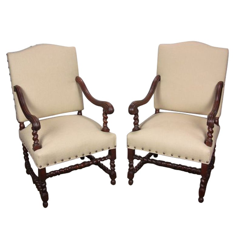 Antique Pair Of Barley Twist Chairs With Oatmeal Linen At 1stdibs