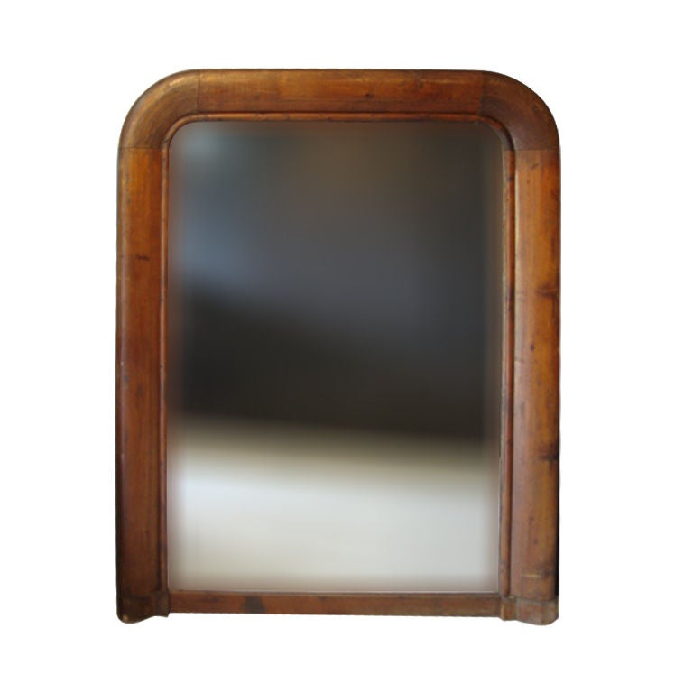 Large Wood Mirror With Thick Frame And Original Glass At