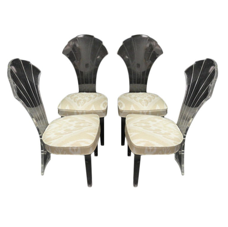 Set Of Four Vintage Scalloped Back Lucite Dining Chairs At