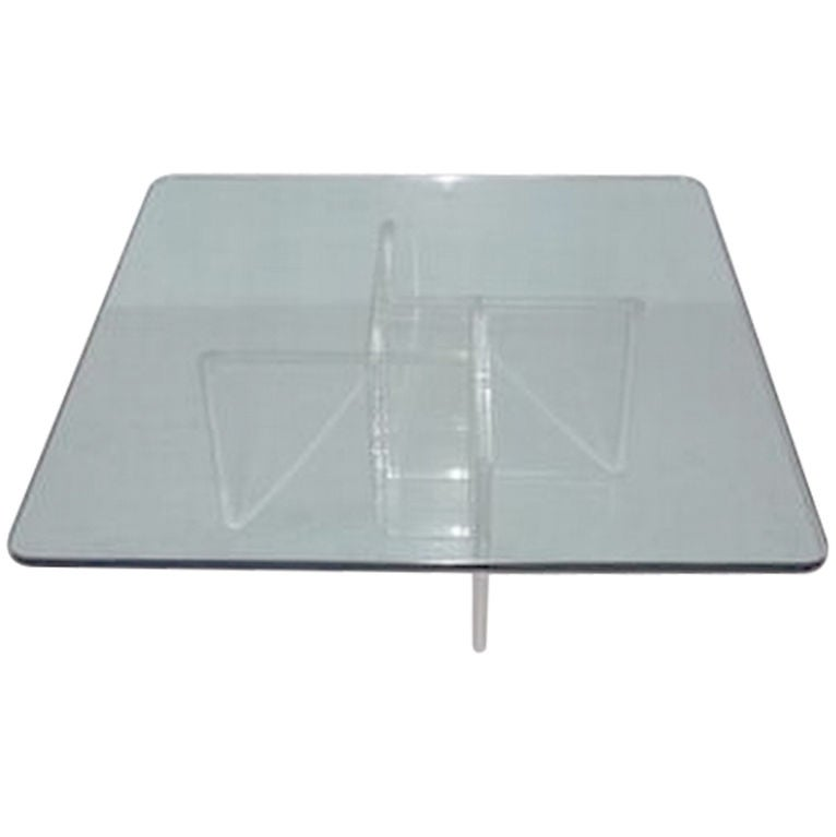 Vintage Geometric Lucite Base Coffee Table At 1stdibs