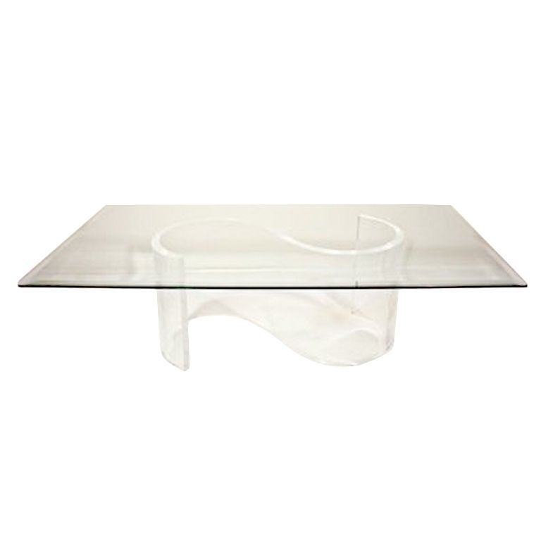 Vintage S Shaped Lucite Base Coffee Table With Glass Top At 1stdibs