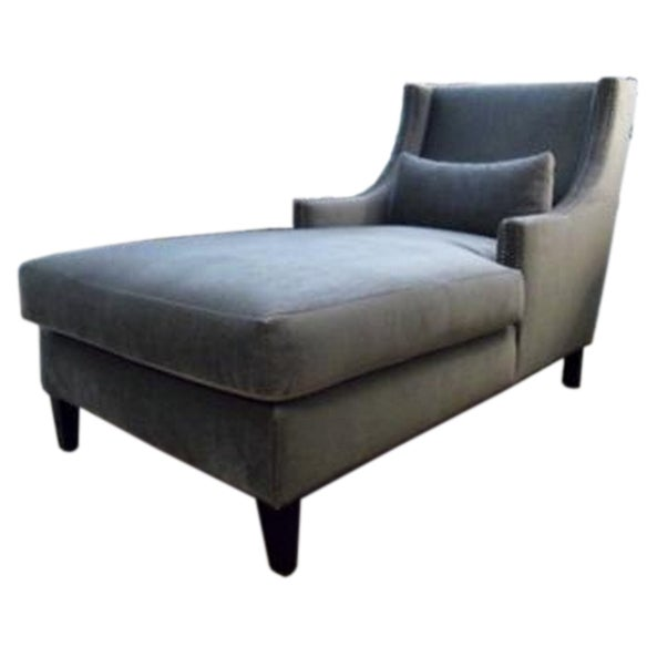 bruno chaise upholstered in mohair with nailheads at 1stdibs. Black Bedroom Furniture Sets. Home Design Ideas