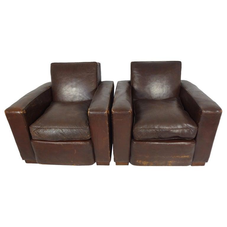 Pair of Vintage Chocolate Brown Moderne Leather Club