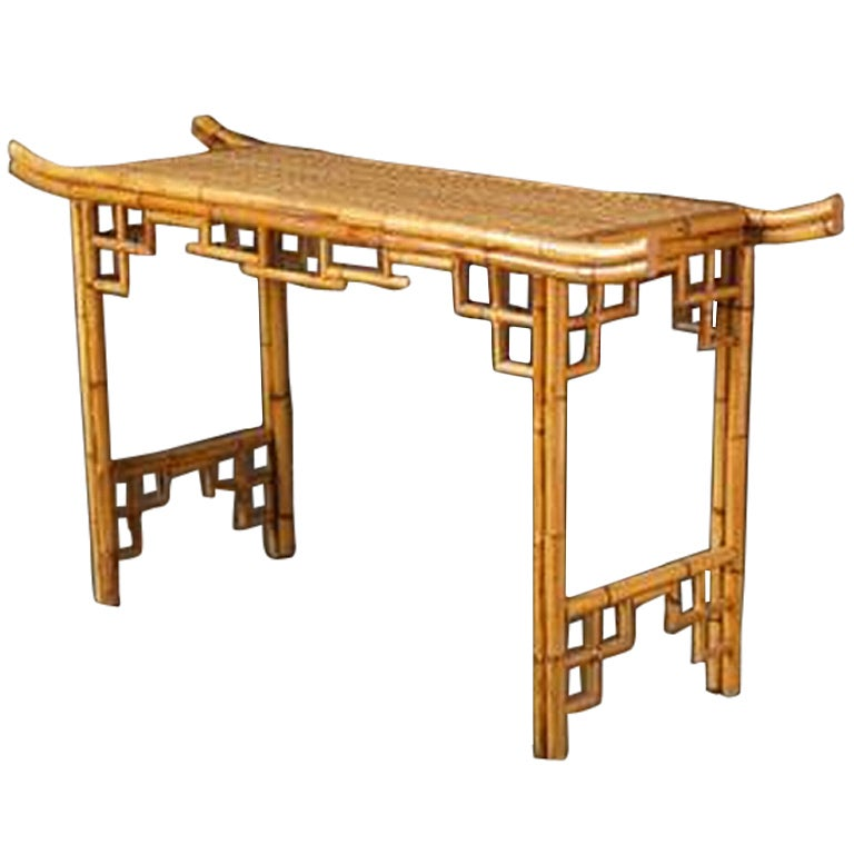 Vintage Faux Bamboo Rattan Console At 1stdibs