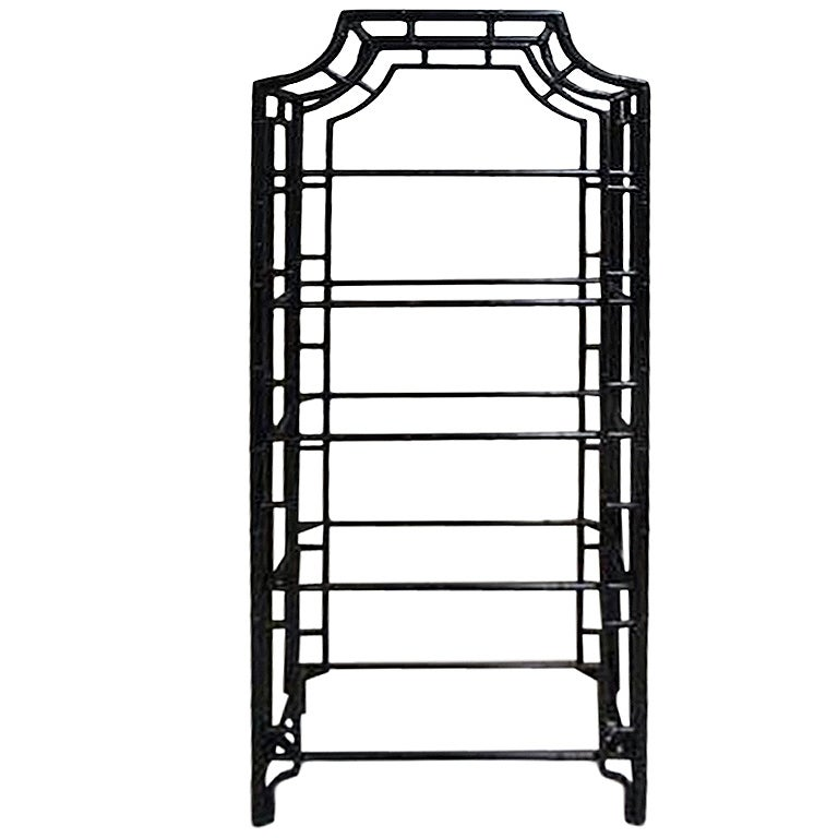 vintage faux bamboo metal etagere at 1stdibs. Black Bedroom Furniture Sets. Home Design Ideas