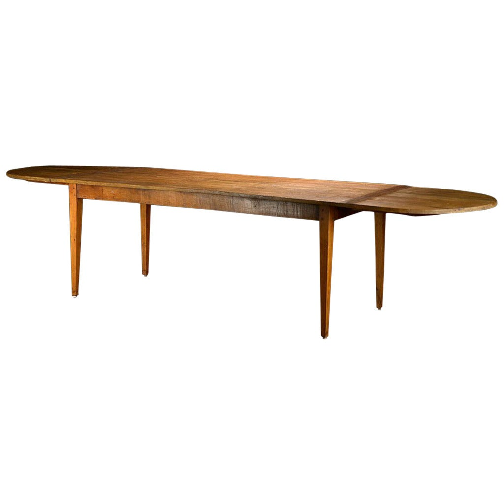 Antique french linden wood dining farm table at 1stdibs for Antique dining room tables