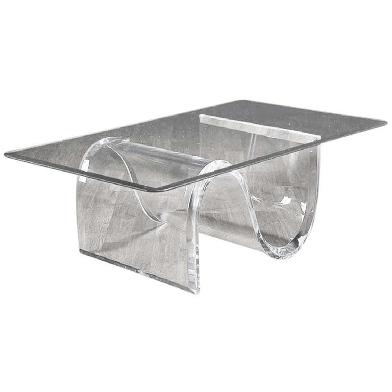 vintage lucite s base rectangular coffee table at 1stdibs