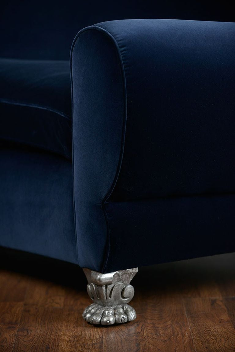 Antique French Velvet Art Deco Sofa With Paw Feet For Sale At 1stdibs