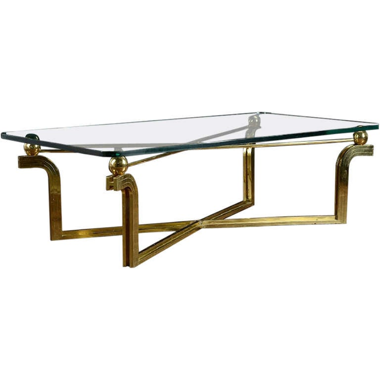 Vintage Brass And Glass Rectangular Coffee Table At 1stdibs