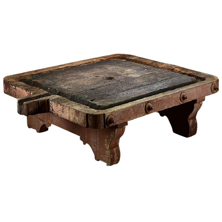 Rustic Large Antique French Farm Wine Press Coffee Table At 1stdibs