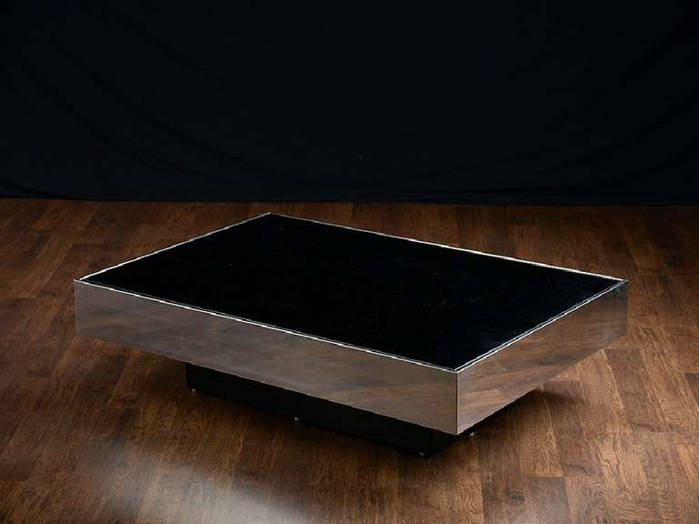 Vintage Floating Mirrored Top Coffee Table At 1stdibs