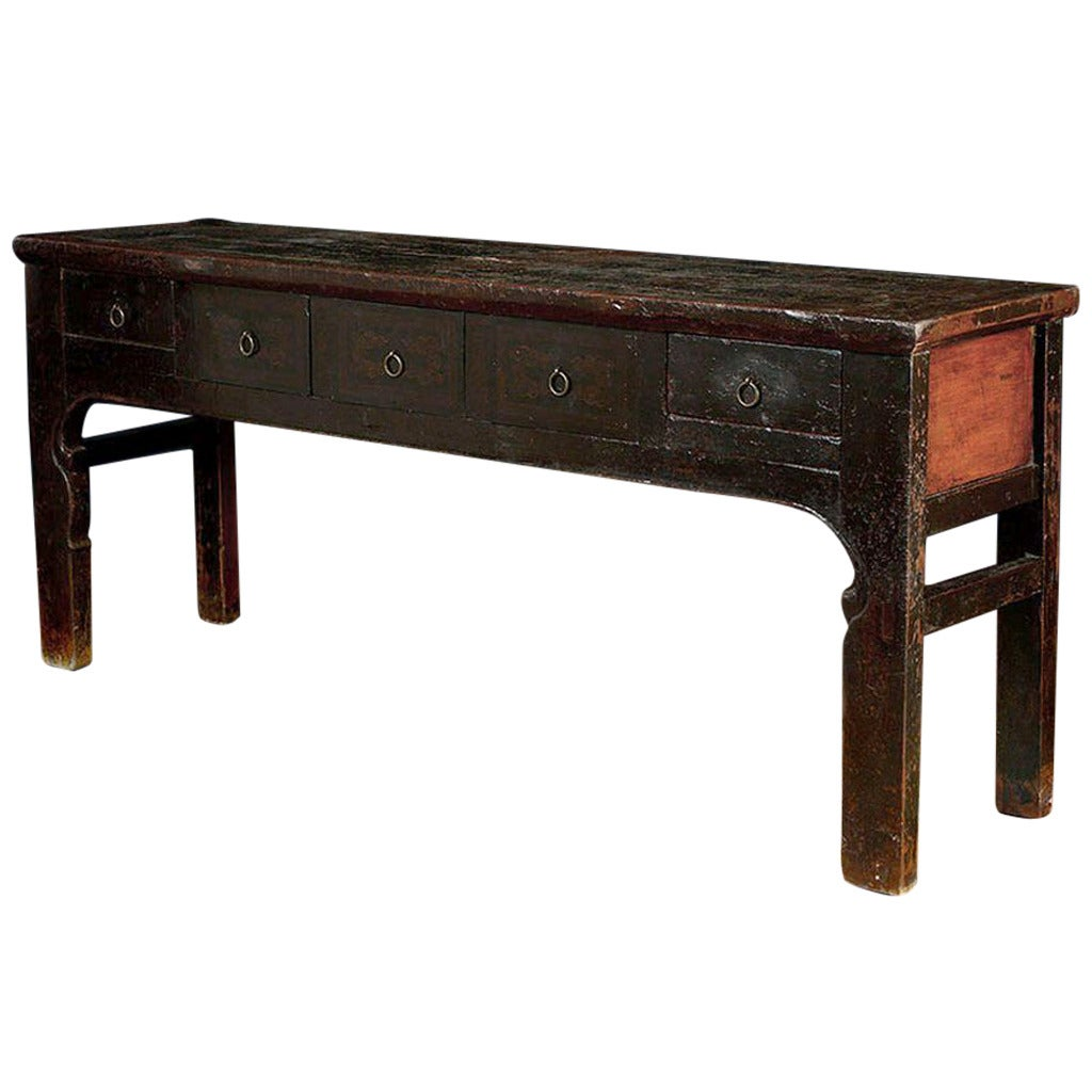 Antique Chinese Pine Dark Lacquer Sideboard Or Buffet At 1stdibs