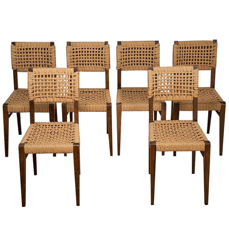 Set Of Six Vintage Wood And Rope Dining Chairs At 1stdibs