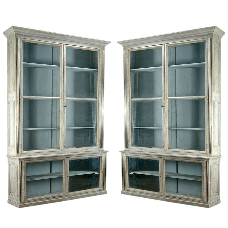 Pair Of Antique Glass Door Bookcases At 1stdibs
