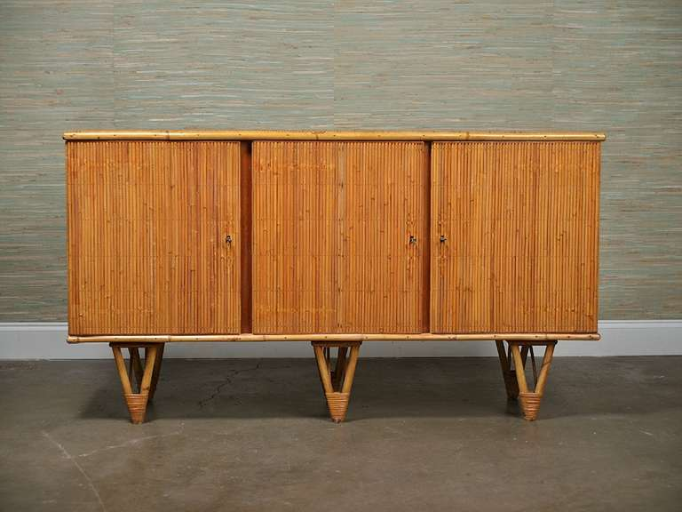 Vintage French Reeded Bamboo Buffet At 1stdibs
