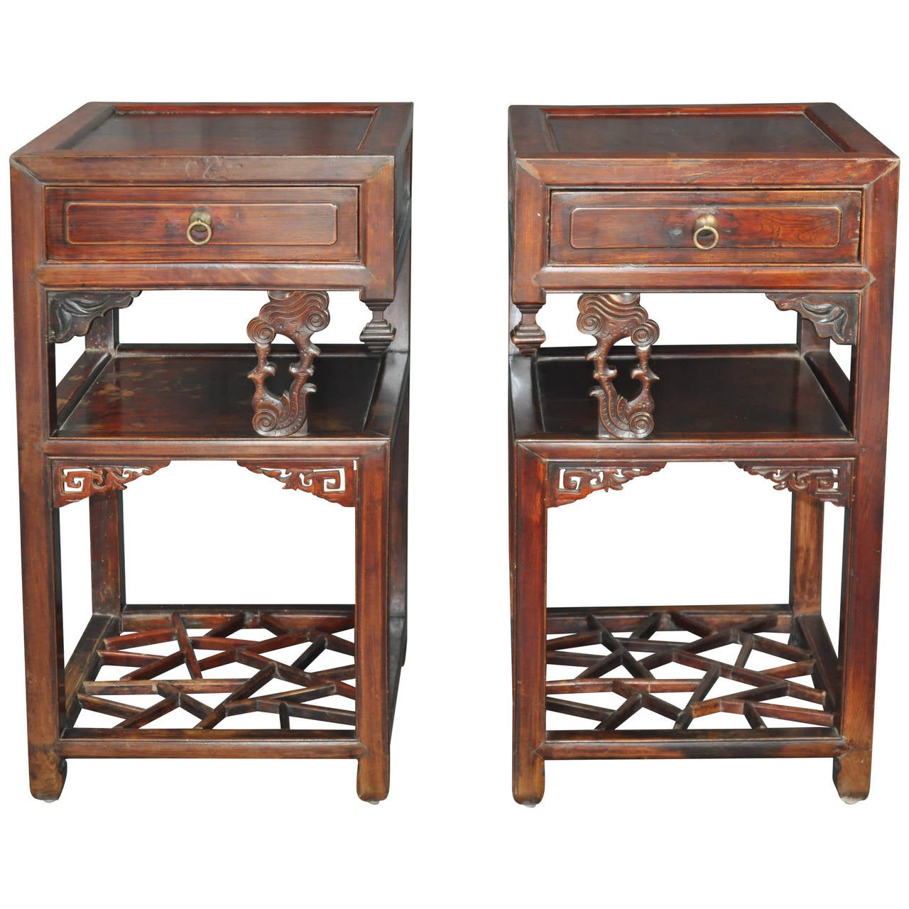 Pair of antique chinese carved wood tea tables at 1stdibs for Oriental wood carved furniture