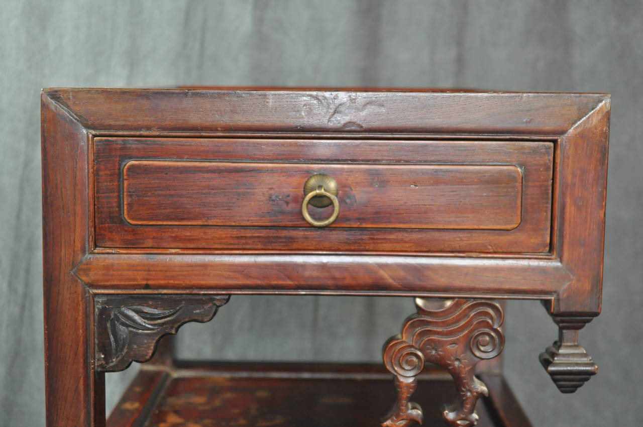 Pair of antique chinese carved wood tea tables for sale at for Oriental wood carved furniture