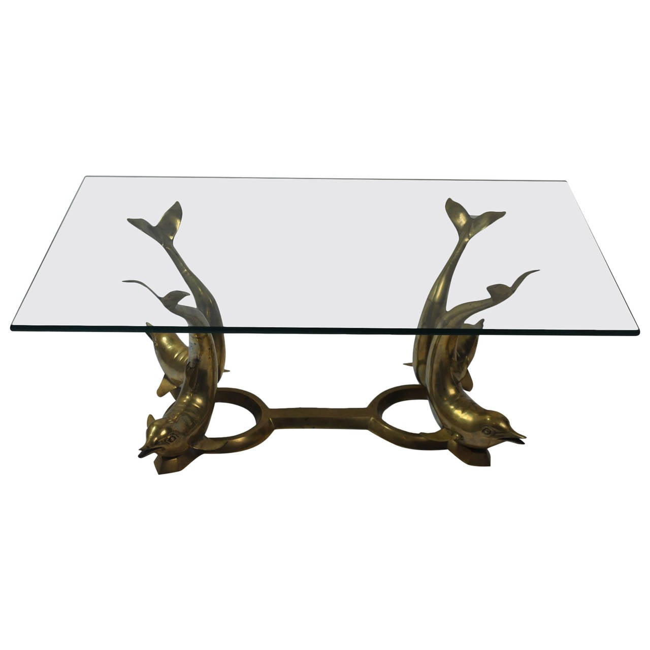 Vintage Brass Dolphin Base Coffee Table At 1stdibs
