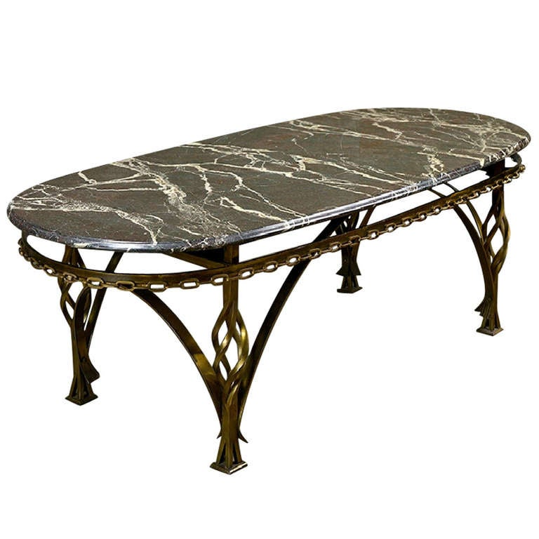 French Iron Black And White Oval Marble Top Coffee Table At 1stdibs