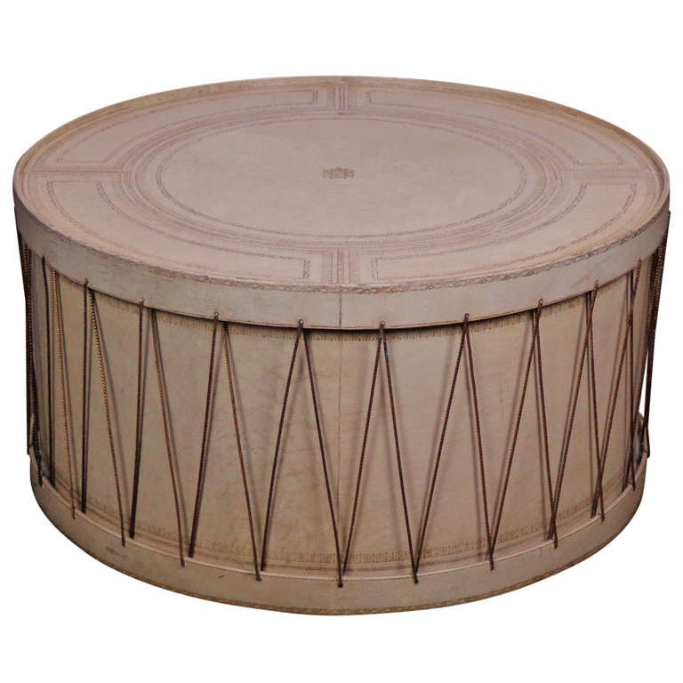 Round Vintage Italian Leather And Rope Drum Coffee Table At 1stdibs