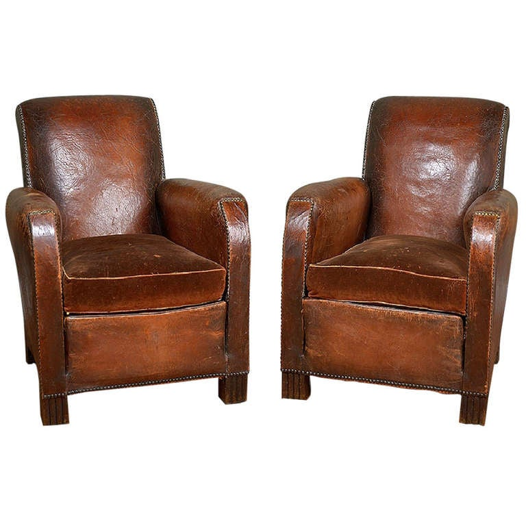 Antique French Leather And Velvet Club Chairs At 1stdibs