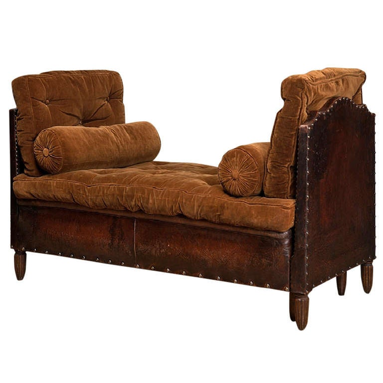 Denver Sofa Bed Antique French Leather and Velvet Daybed at 1stdibs