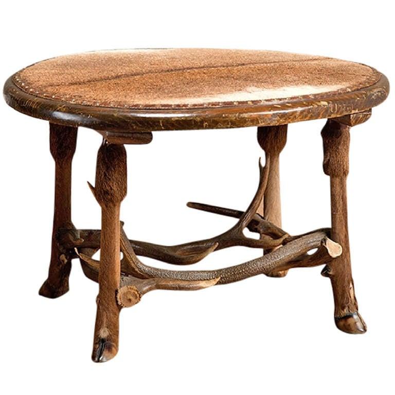 Vintage Round Fur Covered Antler Coffee Table