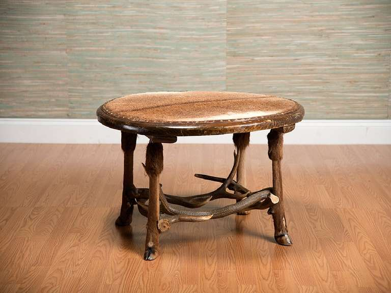 Vintage Round Fur Covered Antler Coffee Table At 1stdibs