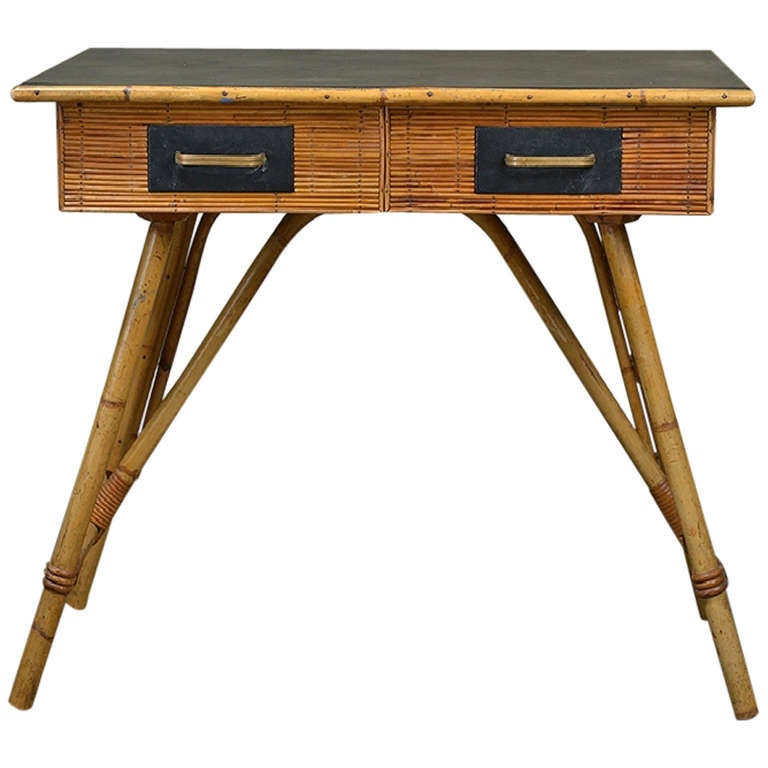 Small vintage french reeded bamboo writing desk at stdibs