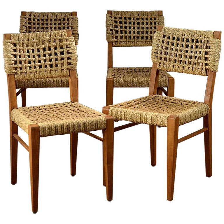 Set Of Four Vintage Woven Rope Dining Chairs At 1stdibs