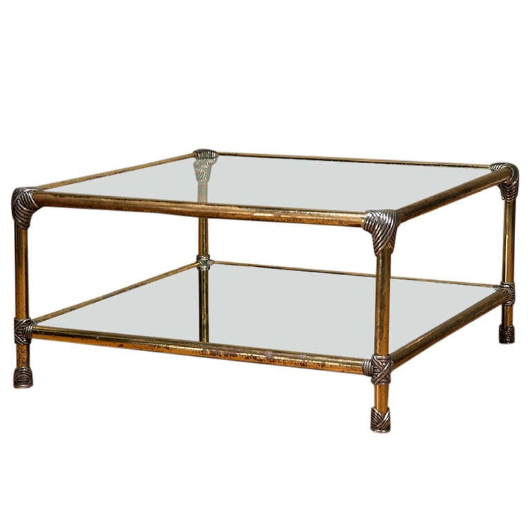 Vintage Square Two-Tier Brass And Chrome Coffee Table At