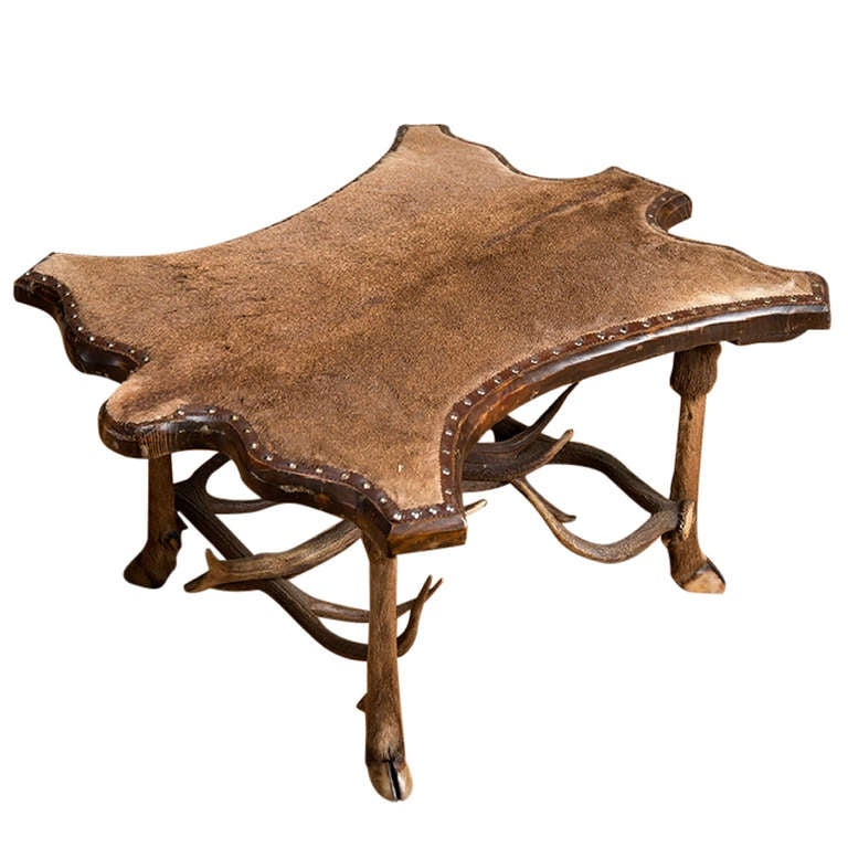 vintage fur covered coffee table with antler stretchers at 1stdibs