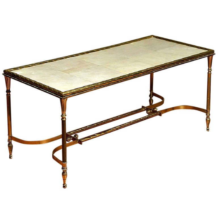 Vintage French Parchment And Brass Coffee Table At 1stdibs