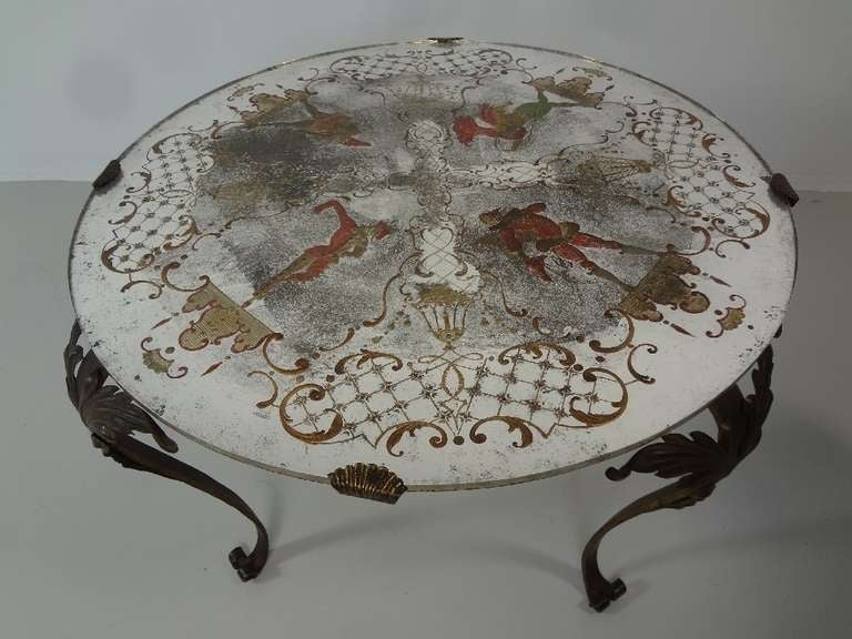 Antique French Hand Painted Round Coffee Table At 1stdibs