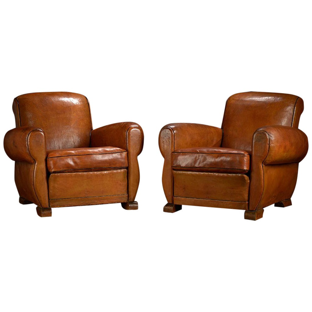 Antique French Leather Deco Club Chairs At 1stdibs