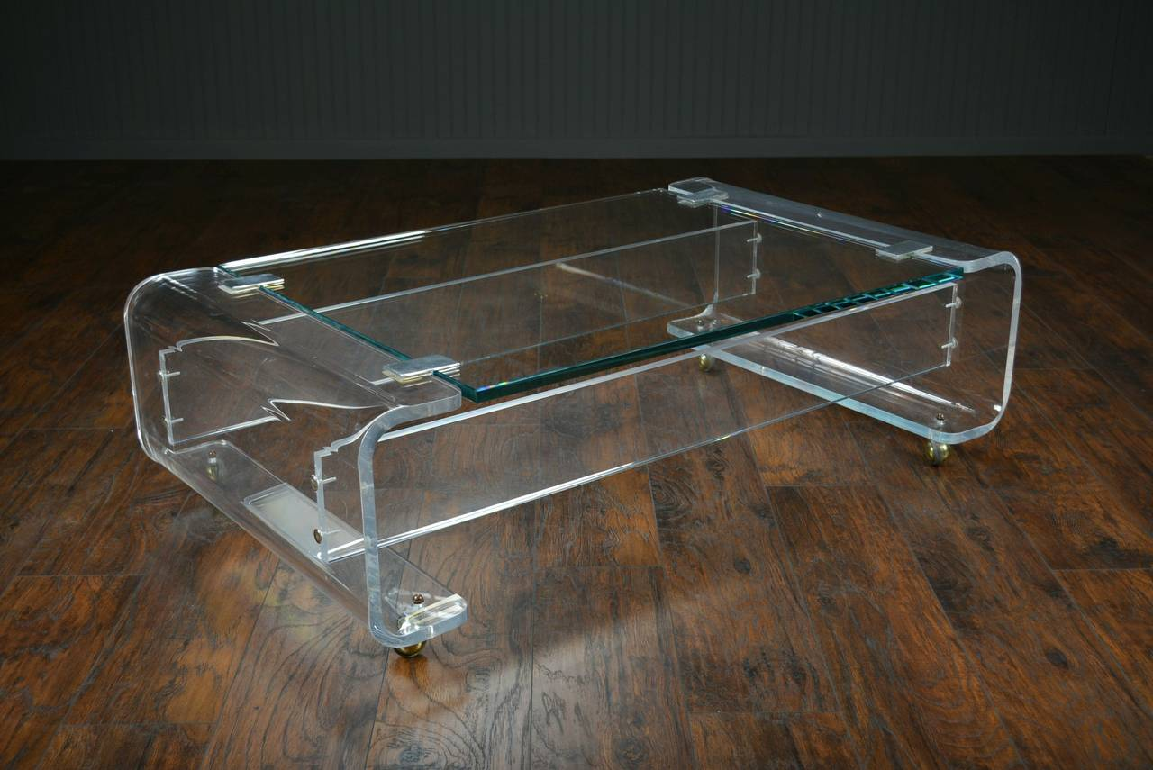 Vintage Lucite And Glass Top Coffee Table At 1stdibs