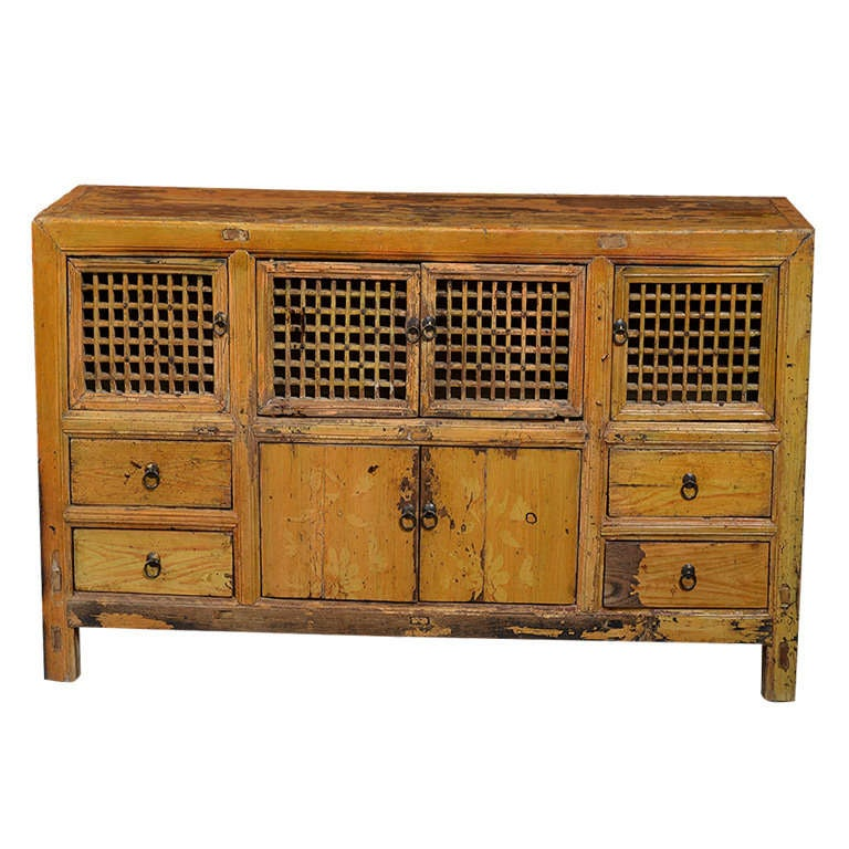 Antique asian low pine kitchen cabinet at 1stdibs for Antique pine kitchen cabinets