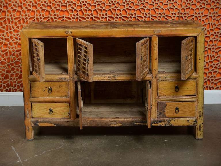 Antique Asian Low Pine Kitchen Cabinet At 1stdibs