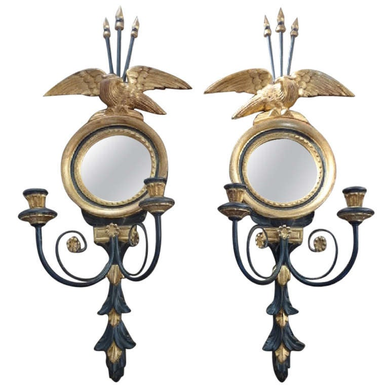 Antique Chandelier Wall Sconces : Vintage Pair of Italian Gold and Black Eagle Mirror Sconces at 1stdibs