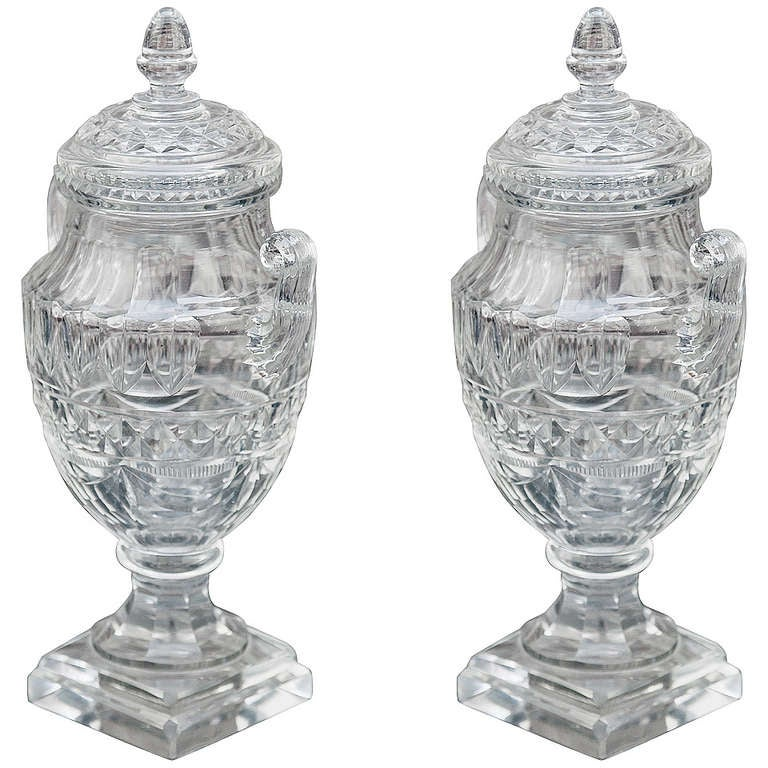 Pair of Crystal Anglo-Irish Covered Sweetmeat Urn Form Jars 1