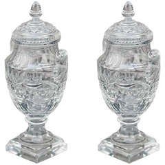 Pair of Crystal Anglo-Irish Covered Sweetmeat Urn Form Jars