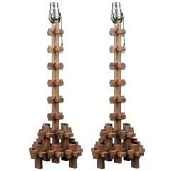Pair Of Vintage Puzzle Piece Lamps