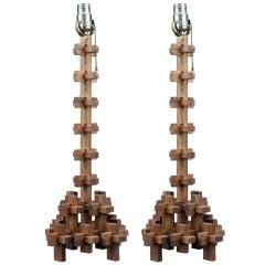 Pair Of Vintage Puzzle Piece Lamps