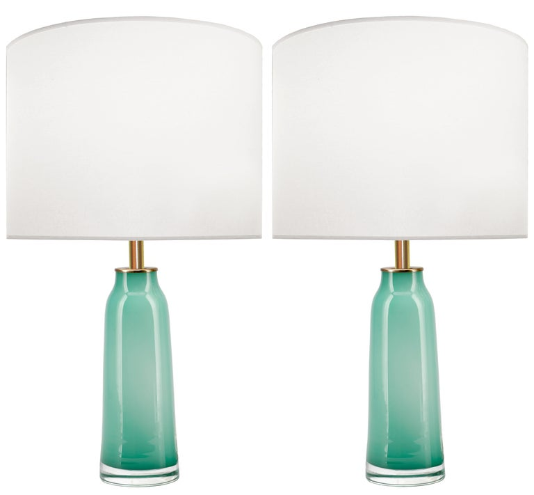 Pair of Nils Landberg for Orrefors Jade Green Glass Lamps 2