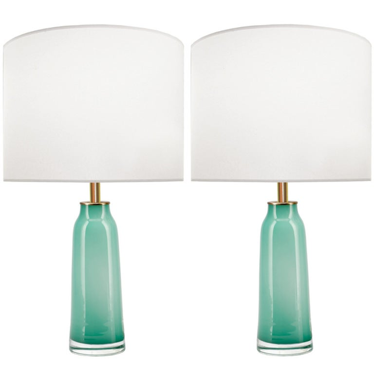 Pair of Nils Landberg for Orrefors Jade Green Glass Lamps 1