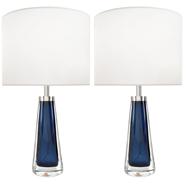 Pair of Nils Landberg for Orrefors Blue Glass Lamps For Sale at ...