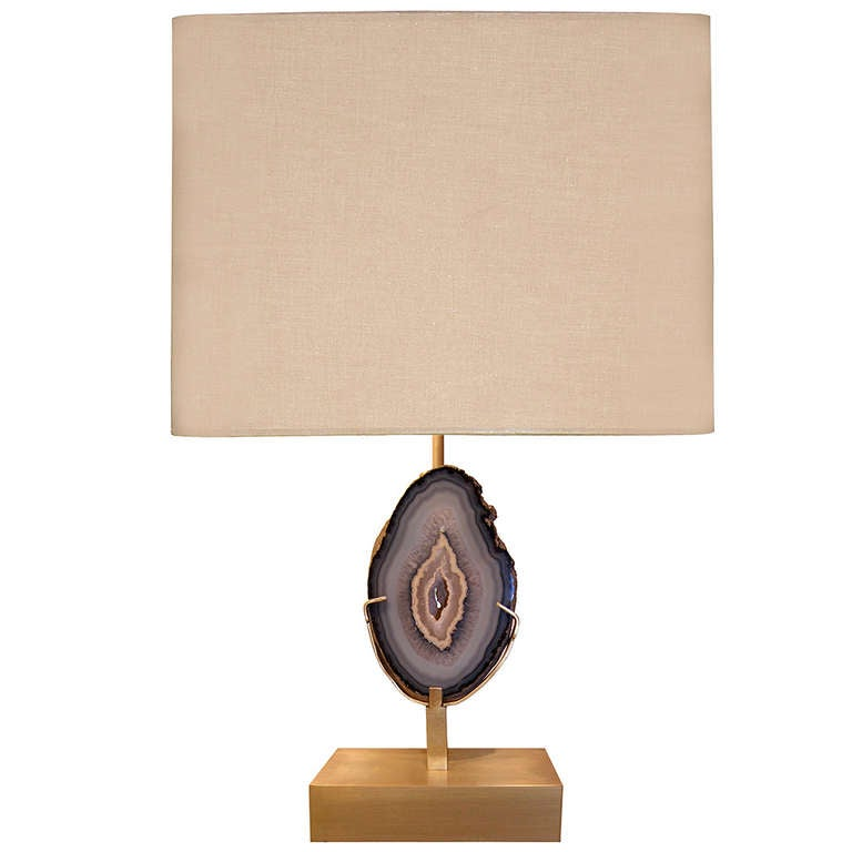 Delightful Willy Daro Bronze And Agate Lamp For Sale
