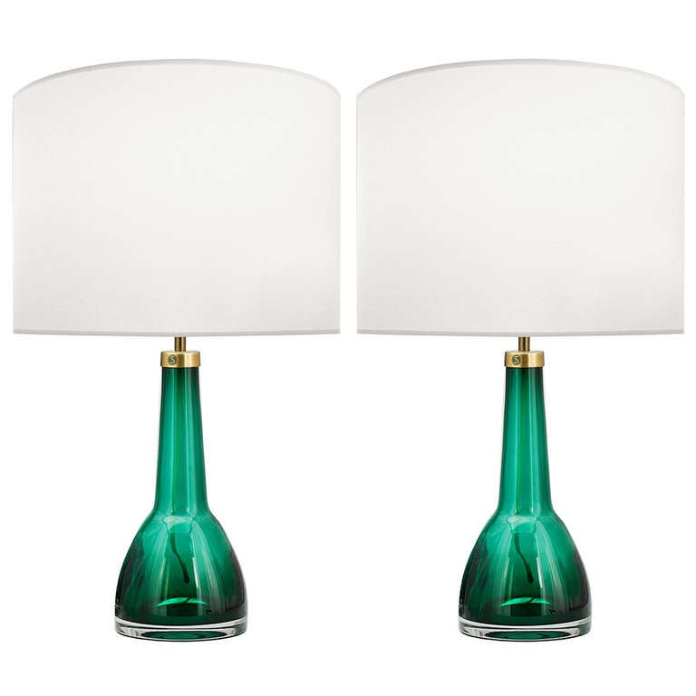 Pair of Carl Fagerlund for Orrefors Green Glass Lamps